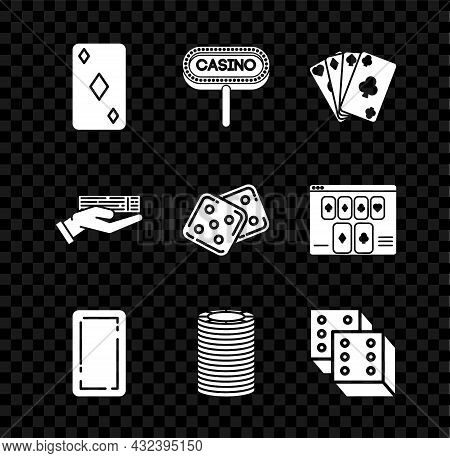 Set Playing Card With Diamonds Symbol, Casino Signboard, Cards, Back, Chips, Game Dice, Hand Holding