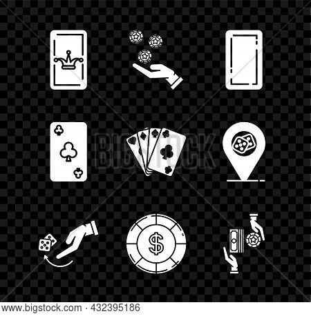 Set Joker Playing Card, Hand Holding Casino Chips, Playing Back, Human Hand Throwing Game Dice, Casi