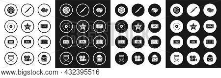 Set Bang Boom Text Speech Bubble Balloon, Cd Or Dvd Disk, Film Reel, 4k Movie, Tape, Frame, Knife, P