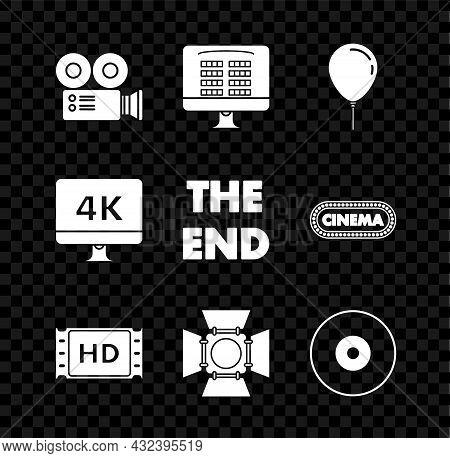 Set Cinema Camera, Balloon With Ribbon, 4k Movie, Tape, Frame, Movie Spotlight, Cd Or Dvd Disk, Comp