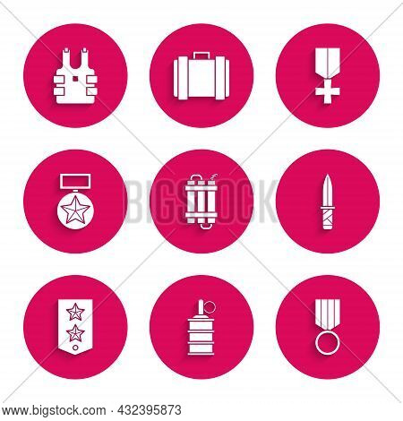 Set Detonate Dynamite Bomb Stick, Hand Grenade, Military Reward Medal, Knife, Chevron, And Bulletpro