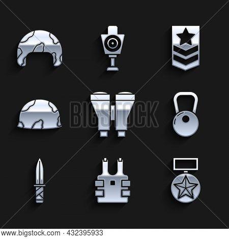 Set Binoculars, Bulletproof Vest For Protection From Bullets, Military Reward Medal, Kettlebell, Kni