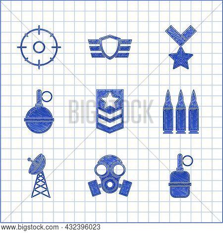 Set Chevron, Gas Mask, Hand Grenade, Bullet, Radar, Military Reward Medal And Target Sport For Shoot