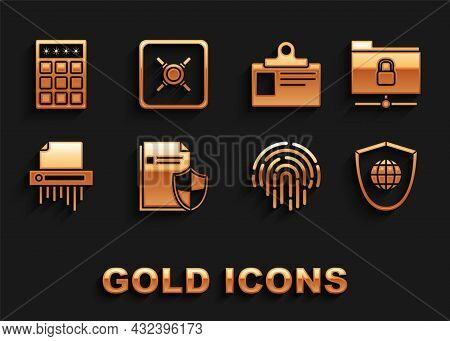 Set Document Protection Concept, Ftp Folder And Lock, Shield With World Globe, Fingerprint, Paper Sh