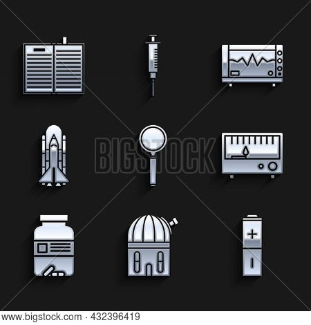 Set Magnifying Glass, Battery, Electrical Measuring Instruments, Medicine Bottle And Pills, Space Sh