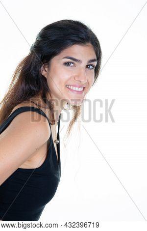Studio Shot Of Good-looking Beautiful Young Woman Isolated White Studio Wall