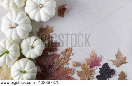 White Pumpkins With Dry Leaves On A Beige Background, Autumn Background, Empty Background Show Produ