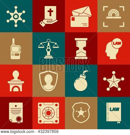 Set Law Book, Hexagram Sheriff, Head With Law, Envelope, Scales Of Justice, Walkie Talkie, And Old H