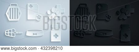 Set Pet Food Bowl, Veterinary Clinic Symbol, Dog Muzzle, Medicine Bottle And Pills, Clipboard With M