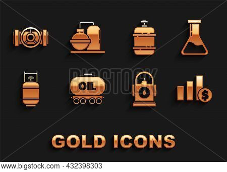 Set Oil Railway Cistern, Test Tube And Flask, Pie Chart Infographic Dollar, Petrol Or Gas Station, P