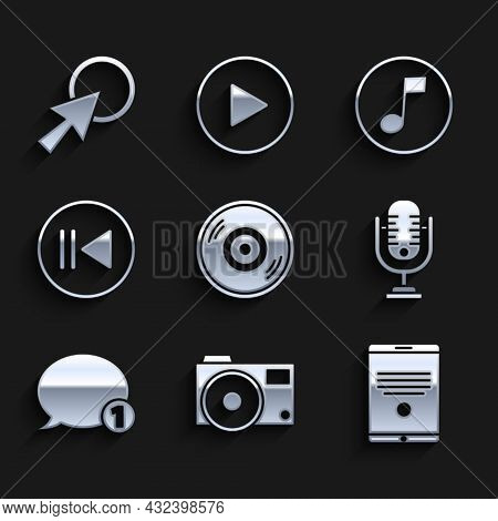 Set Vinyl Disk, Photo Camera, Tablet, Microphone, Speech Bubble Chat, Rewind, Music Note, Tone And A