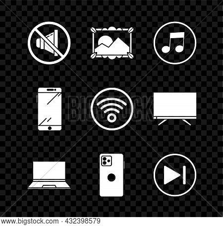 Set Speaker Mute, Picture Landscape, Music Note, Tone, Laptop, Smartphone, Mobile Phone, Fast Forwar