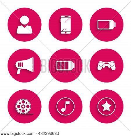 Set Battery Charge Level Indicator, Music Note, Tone, Star, Gamepad, Film Reel, Megaphone, And Add F