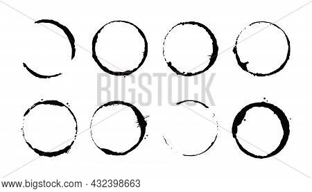 Coffee Stain Ring Set. Vector Illustration. Drink Stain Stamp With Round Shape And Splash Element. C