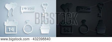 Set Wedding Rings, Key Heart Shape, Calendar With February 14, Speech Bubble I Love You And Balloons