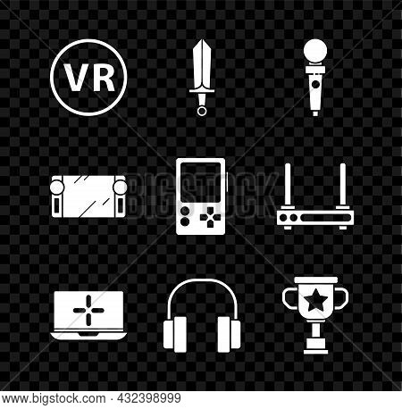 Set Virtual Reality Glasses, Sword For Game, Joystick Arcade Machine, Laptop, Headphones, Award Cup,