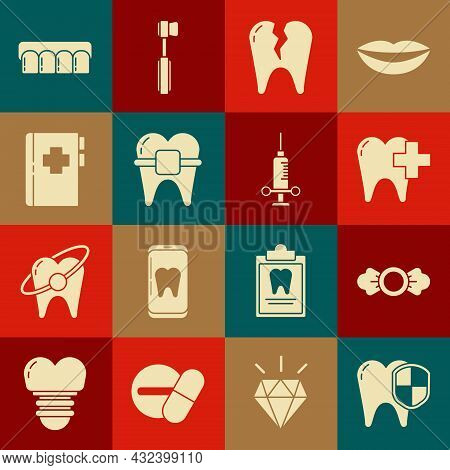 Set Dental Protection, Candy, Clinic For Dental Care Tooth, Broken, Teeth With Braces, Clipboard Car