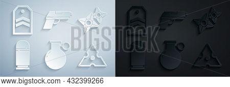 Set Hand Grenade, Japanese Ninja Shuriken, Cartridges, Pistol Or Gun And Chevron Icon. Vector