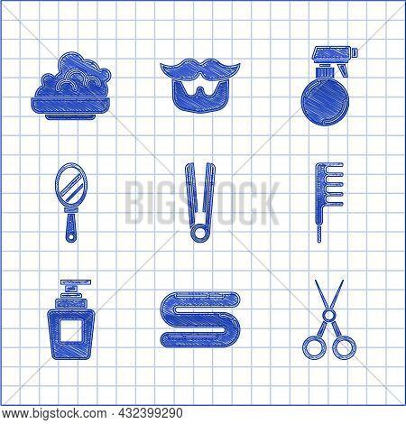 Set Curling Iron For Hair, Towel, Scissors Hairdresser, Hairbrush, Bottle Of Shampoo, Hand Mirror, H