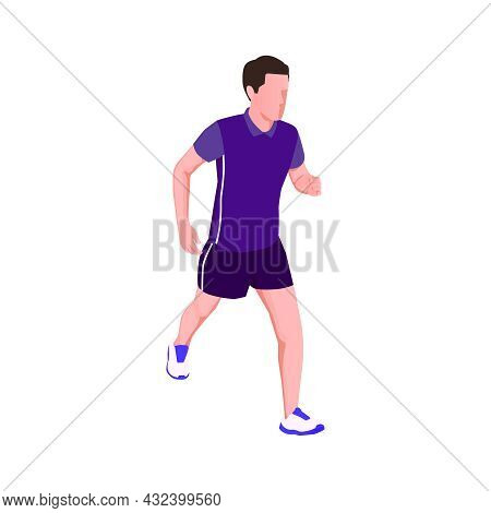 Isometric Icon With Man Running Jogging On White Background 3d Vector Illustration