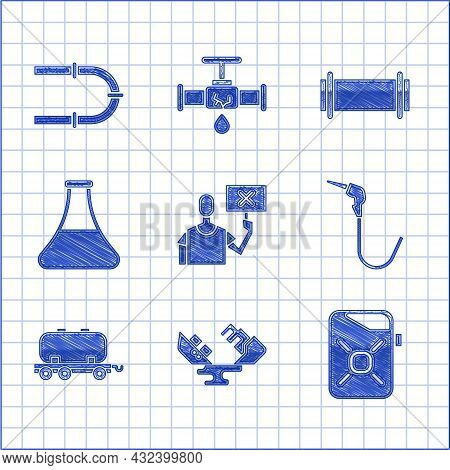 Set Nature Saving Protest, Wrecked Oil Tanker Ship, Canister For Motor, Gasoline Pump Nozzle, Oil Ra