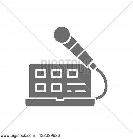 Laptop With Microphone, Sound Recording, Radio Host, Broadcasts Grey Icon.