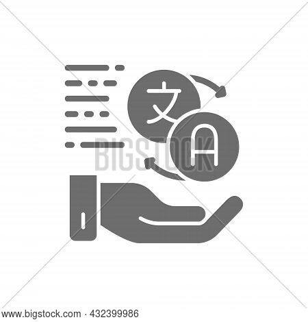 Hand Holding Speech Bubbles, Language Translation, Conversation Grey Icon.