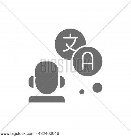 Translator, Interpreter Grey Icon. Isolated On White Background