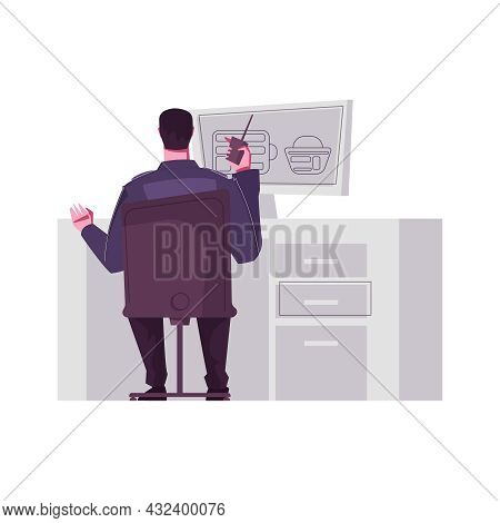 Guard Officer Monitoring Luggage Scanning On Computer Flat Vector Illustration