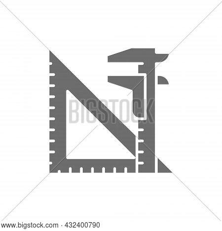 Engineering Tools, Split Key And Triangular Ruler Grey Icon.