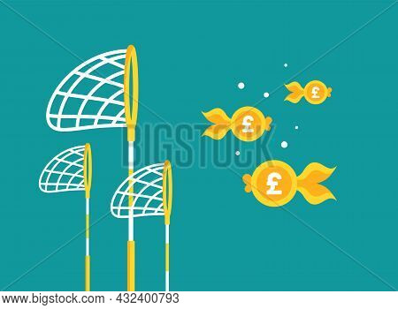 Pool Or Fish Net With Pound Sterling Coins As Golden Fish. Catch, Hunt, Chase Money Goldfish. Achiev