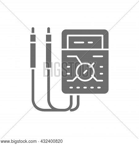 Ammeter, Digital Multimeter, Electrical Tool, Voltmeter Grey Icon.