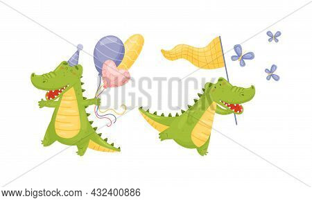 Green Crocodile Or Gator Character Catching Butterfly With Net And Carrying Balloon Bunch Vector Set