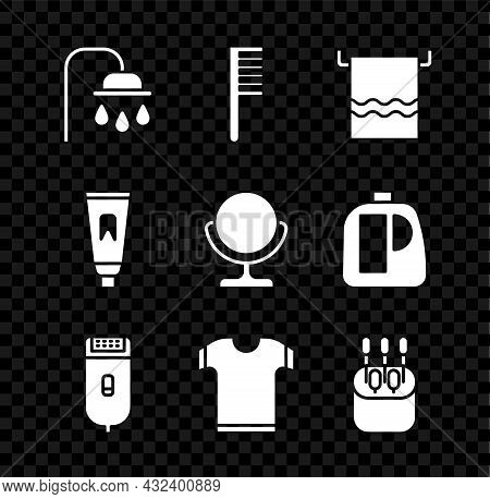 Set Shower Head, Hairbrush, Towel On Hanger, Electrical Hair Clipper Or Shaver, T-shirt, Cotton Swab