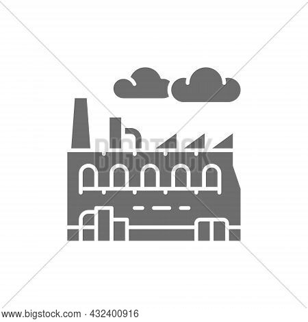 Industrial Factory, Plant Grey Icon. Isolated On White Background