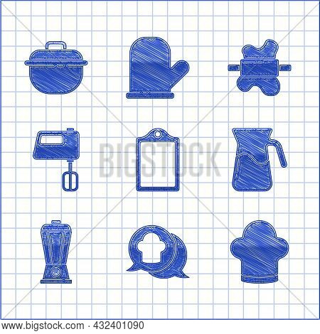 Set Cutting Board, Chef Hat Speech Bubble, Jug Glass With Water, Blender, Electric Mixer, Rolling Pi