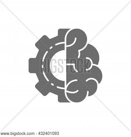 Brain With Gear Wheel, Engineer Mind, Intellect Grey Icon.