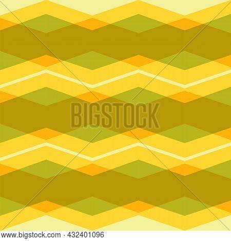 Zigzag Seamless Pattern. Abstract Geometric Background.  Illustration Horizontal Zigzag Stripes. Yel