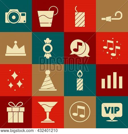 Set Location Vip, Music Equalizer, Note, Tone, Firework Rocket, Candy, Crown, Photo Camera And Music