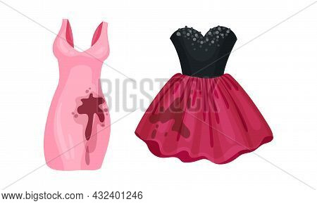 Spotted Dress As Dirty Clothing With Stain For Laundry Vector Set