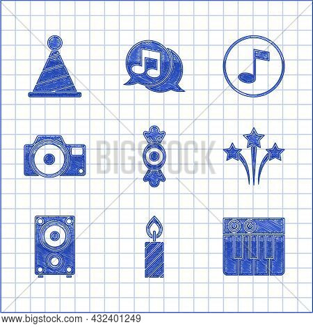 Set Candy, Birthday Cake Candles, Music Synthesizer, Firework, Stereo Speaker, Photo Camera, Note, T