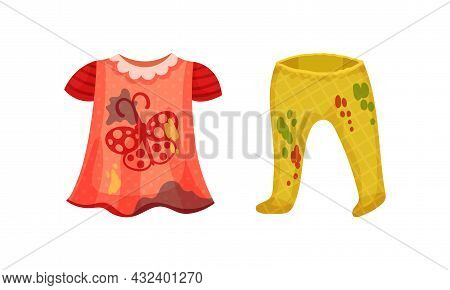 Spotted Kid Dress And Pants As Dirty Clothing With Stain For Laundry Vector Set
