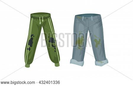 Spotted Jeans And Pants As Dirty Clothing With Stain For Laundry Vector Set