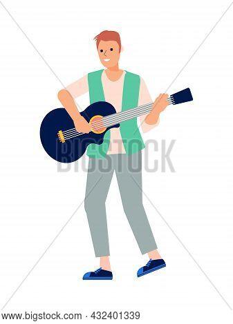 Instrumental Musician Playing Guitar Flat Vector Illustration