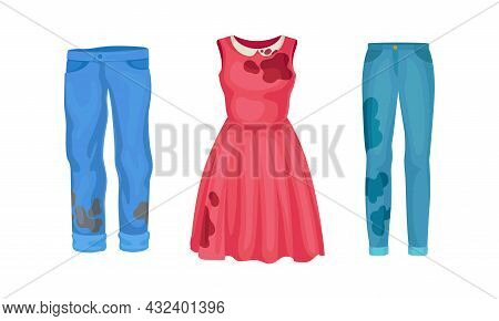 Spotted Dress And Pair Of Jeans As Dirty Clothing With Stain For Laundry Vector Set