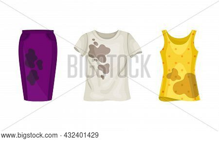 Spotted Sweatshirt And Skirt As Dirty Clothing With Stain For Laundry Vector Set