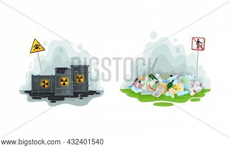 Environmental Issue And Ecological Problem With Garbage Dump And Chemical Waste Vector Set