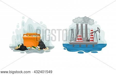 Environmental Issue And Ecological Problem With Garbage Dump And Chemical Factory Vector Set