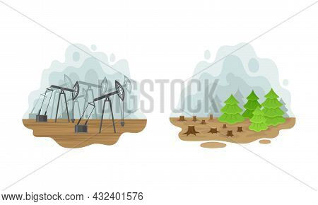 Environmental Issue And Ecological Problem With Deforestation And Oil Extraction Vector Set