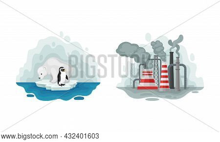 Environmental Issue And Ecological Problem With Melting Of Glaciers And Chemical Waste Emission Vect